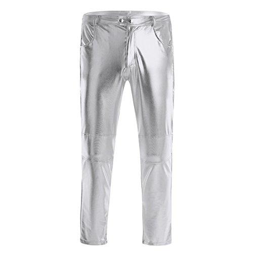 ACSUSS Men's PVC Leather Night Club Metallic Pants