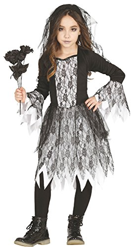 Girls Dead Corpse Bride Ghost Spooky Scary Halloween Fancy Dress Costume Outfit 3-12 Years (7-9 Years) -