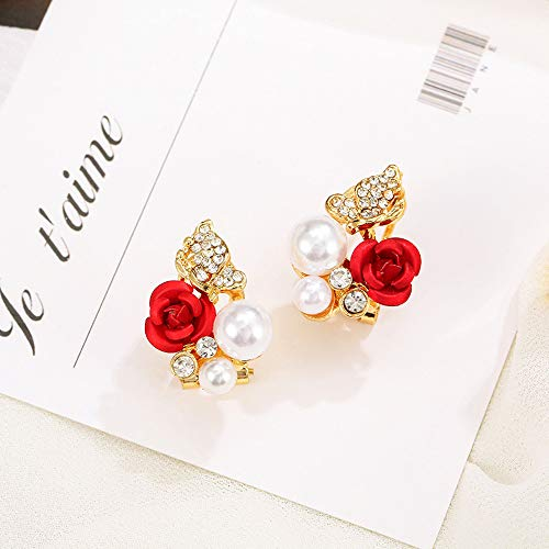 ❤Ywoow❤ Female Earrings, 1 Pair Red Rose Flower Imitation Pearl Plated Crystal Stud Earring by ❤Ywoow❤ (Image #1)
