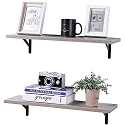 SUPERJARE Wall Mounted Floating Shelves, 2 Sets Display Ledge, Storage Rack for Room/Kitchen/ Office - Vintage Gray