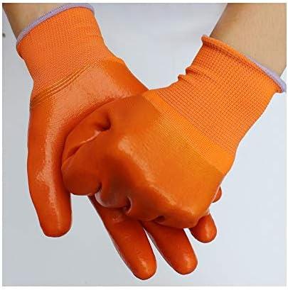 """労働保護作業用手袋 作業用手袋防水ノンスリップ厚手耐油フルディップラバー保護手袋、12ペア、10""""* 5"""" (Size : L, UnitCount : 12 pairs)"""