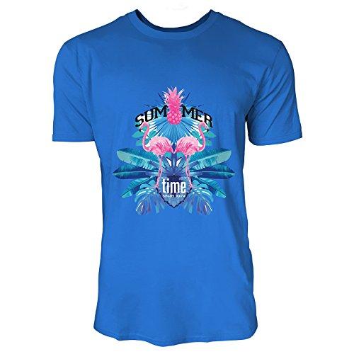 SINUS ART® Summer Time mit Flamingos und Palmen Herren T-Shirts in Blau Fun Shirt mit tollen Aufdruck