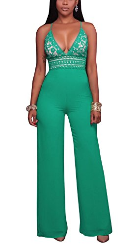 Womens Cut Out Lace Jumpsuits (Yellow) - 6