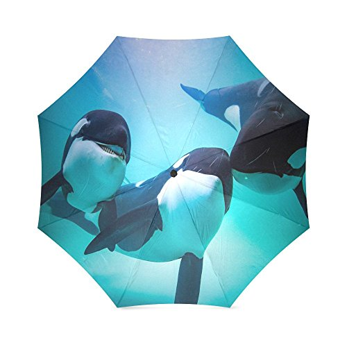 New Year/Christmas Gifts Orca Killer Whale Folding Windproof outdoor Travel Umbrella for Women