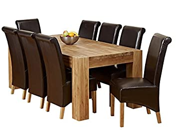 Good 1home Full Solid Oak Dining Table Set Chunky Legs Room Furniture 200cm ( Table 8 Chairs