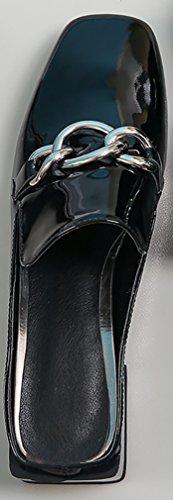 Calaer Womens Mocassino Con Cinturino E Tallone 4cm Tacco Mocassino Nero