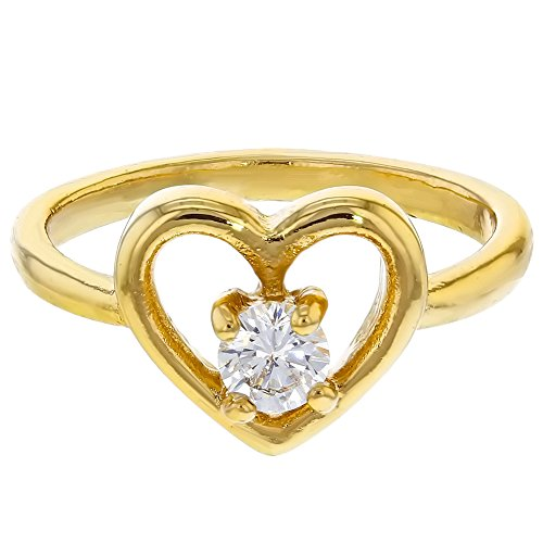 18K Gold Plated Clear Crystal Heart Love Baby Rings for Girls (Class Rings For Girls)
