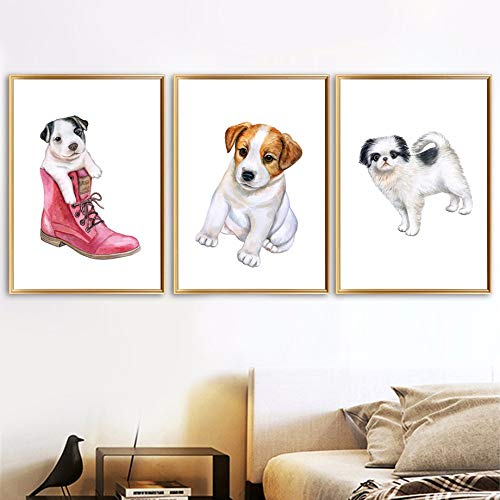 (qiumeixia1 Watercolor Parson Russell Terrier Dog Boots Wall Art Canvas Painting Nordic Posters and Prints Wall Pictures for Kids Room Decor 5070cm No Frame)