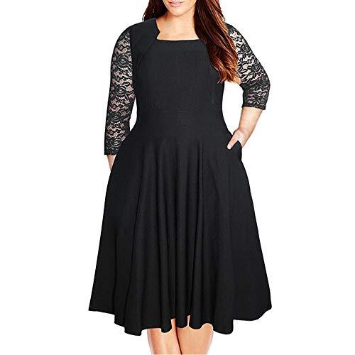 ✔ Hypothesis_X ☎ Women's Vintage Square Neck Floral Lace Sleeve Plus Size Cocktail Swing Dress Black