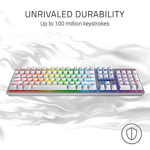 Razer Huntsman Gaming Keyboard: Fastest Keyboard Switches Ever - Clicky Optical Switches - Customizable Chroma RGB Lighting - Programmable Macro Functionality - Mercury White