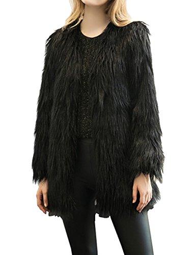 Fanala Women's Vintage Solid Color Faux Fur Winter Warm Long Coat (Vintage Faux Fur Coat)