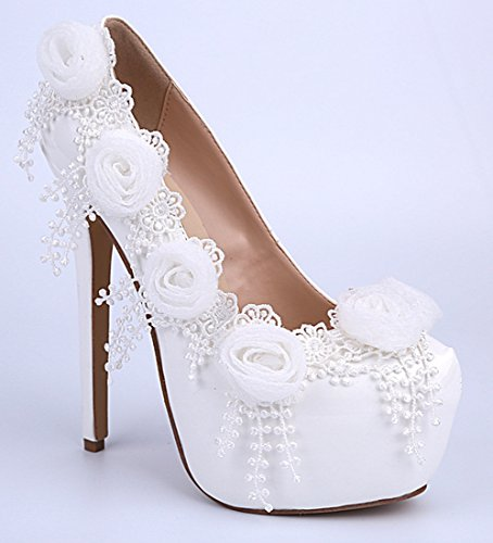 Women's Pumps Leather Wedding Bridal Dress Patent Stiletto Flowers Beautiful White TDA zqXx4gwdz