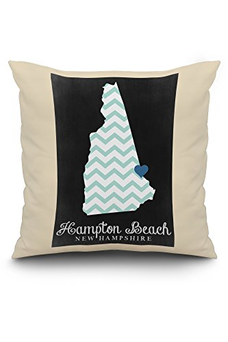 Hampton Poster Bed - Hampton Beach, New Hampshire - Chalkboard State Outline (20x20 Spun Polyester Pillow, White Border)