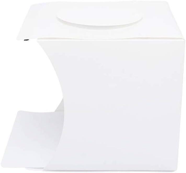 20cm Portable Photography Shooting Light Tent Kit 6 Backdrops for Product Display White Folding Lighting Softbox with 20 LED Lights Mini Photo Studio Box