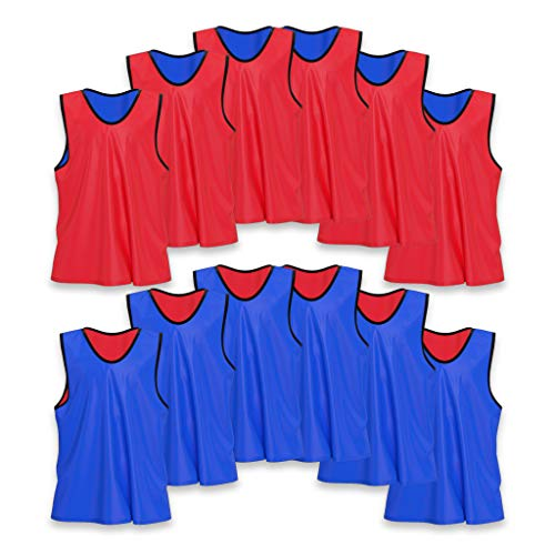 Youth Mesh Jersey Shirt - Unlimited Potential Nylon Mesh Scrimmage Team Practice Vests Pinnies Jerseys Bibs for Children Youth Sports Basketball, Soccer, Football, Volleyball (12 Pack, Reversible Red/Blue, Adult)