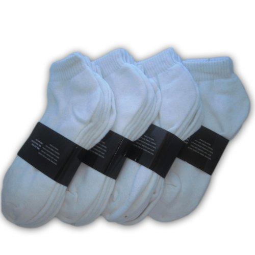 Online Best Service Wholesale Lot 48 Pairs Men's Sport Socks Ankle/Quarter Crew Athletic Socks (White, 9-11)
