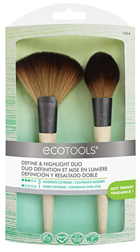 EcoTools Define & Highlight Duo Makeup Brush Set for Powder Bronzer Highlighter ()