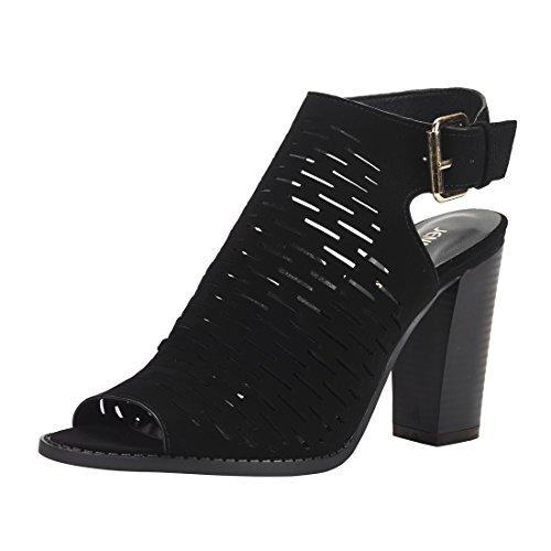 Out Peep Cut Shoes Toe (JENN ARDOR Women's Ankle Open Toe Cutout Heeled Sandals Slip On Low Stacked Heel Open Peep Toe Cutout Shoe Western Bootie.)