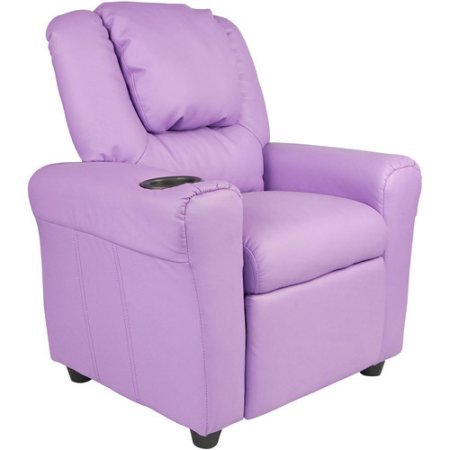 Flash Furniture Kids' Vinyl Recliner with Cup holder and Headrest, Multiple Colors | durable vinyl upholstery (Lavender)