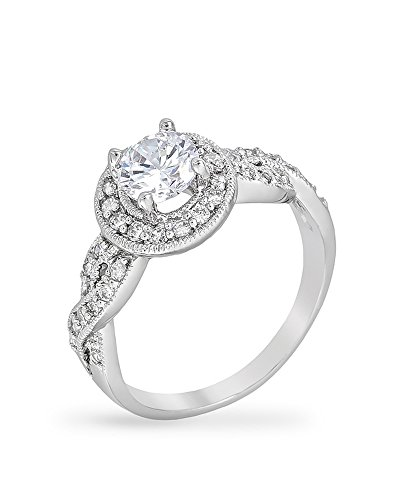 Rhodium Plated Engagement Ring with Round Cut Center Stone Hoisted by Cubic Zirconia Accented Halo,8