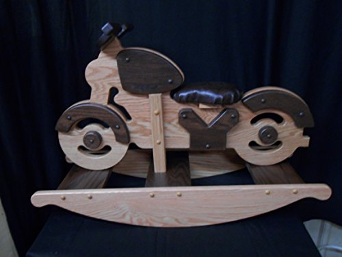 Motorcycle Rocking Horse Rocker Hobby Horse Solid Oak Kids Toy Stained Wooden - Hobby Rocking Horse