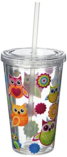 Double Walled Acrylic (Owls 16 Oz Double Walled Insulated Reusable Acrylic Cup with Straw)