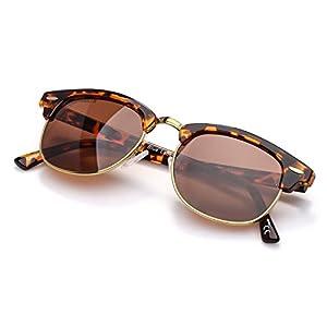 Blue Label Retro Classic Unisex Adult Sunglasses Half Frame Rivet Trim,Fit For Small Face Shape