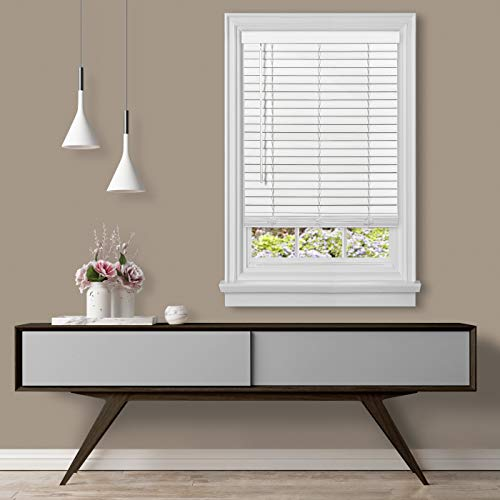 Achim Home Furnishings Cordless GII Madera Falsa 2″ Faux Wood Plantation Blind 35″ x 64″, White
