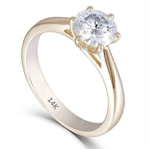 (DOVEGGS 14K Yellow Gold 1CTW 2.7mm Band Width Center 6.5mm F Near Colorless Moissanite Engagement Rings for Women (7))