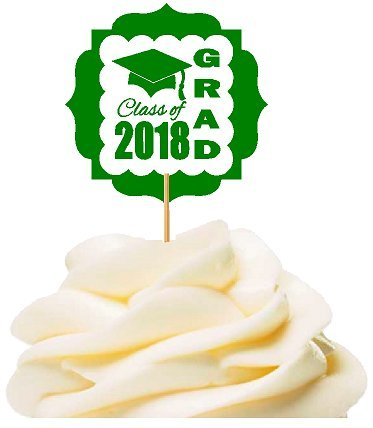 CakeSupplyShop Class of 2018 Graduation Party Supplies Collection (Green Cupcake Picks) -