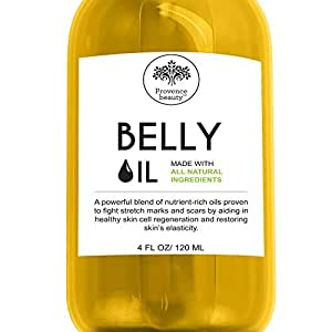 Belly Oil for Pregnancy and Stretch Marks - All Natural Scar Prevention and Reduction Therapy, and Uneven Skin Tone - Safe for Use During and Postpartum - Dermatologist Recommended - 4 Fl Oz