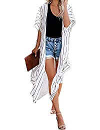 Women Striped Roll-up Sleeve Open Front Cardigan Kimono Outerwear