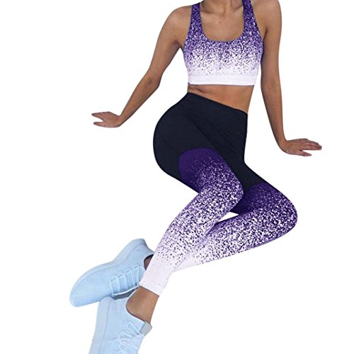 Athletic Leggings, Gillberry Women High Waist Yoga Fitness Leggings Running Gym Stretch Sports Pants Trousers (Purple X, -