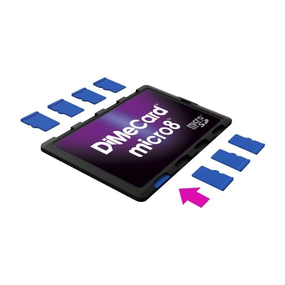 DiMeCard micro8 microSD Memory Card Holder (Ultra thin credit card size holder, writable label) 1 Ultra-slim design - 1/10th inch thin, credit card size for wallet (thinnest in the world!) Writable panels to note memory card contents Ideal companion for camera phones, smart phones & tablet PC's
