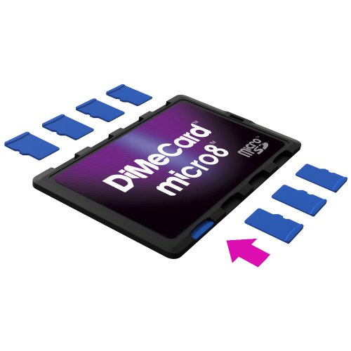 DiMeCard micro8 microSD Memory Card Holder (Ultra thin credit card size holder, writable label)
