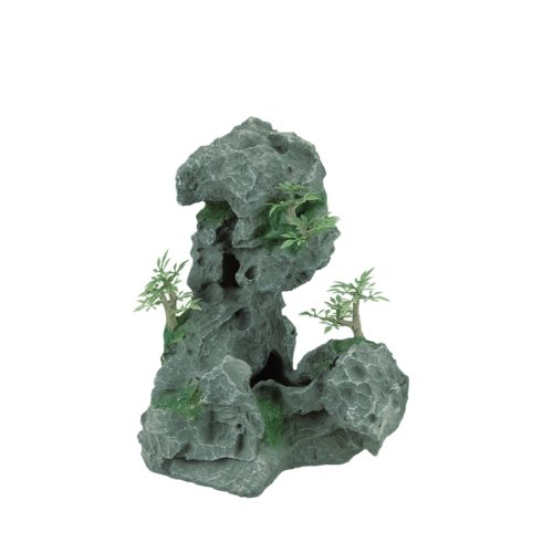 Zilla Reptile Habitat Décor Granite Cave with Foliage