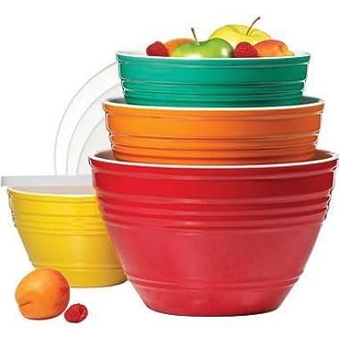 4 Piece Melamine Bowl Set With Lids - 4 Sizes