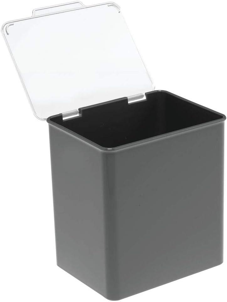 Caja con tapa de dise/ño apilable mDesign Caj/ón de pl/ástico sin BPA ideal para organizar la cocina Cajas de ordenaci/ón multiusos la habitaci/ón infantil o el ba/ño gris pizarra y transparente