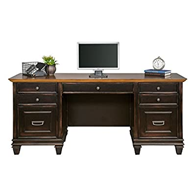 Martin Furniture Hartford Credenza, Brown - Fully Assembled - Black paint with a Twelve Step two toned hand rubbed finish with light physical distressing Drop front keyboard/pencil drawer, Three utility drawers with dividers, and One locking letter legal file drawer Power center with two AC power outlets and three USB 2.0 connections - writing-desks, living-room-furniture, living-room - 41bFbxc0UcL. SS400  -
