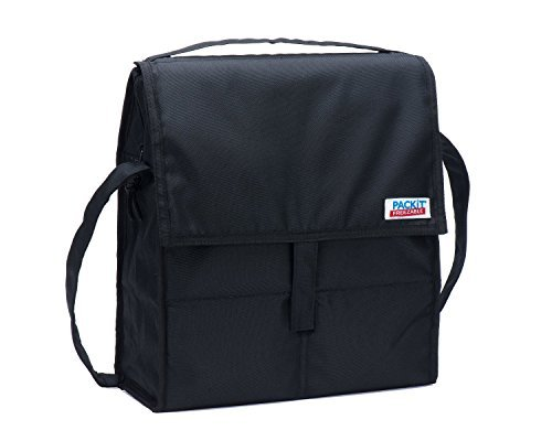 PackIt Freezable Picnic Bag with Zip Closure, Black - 2 Count