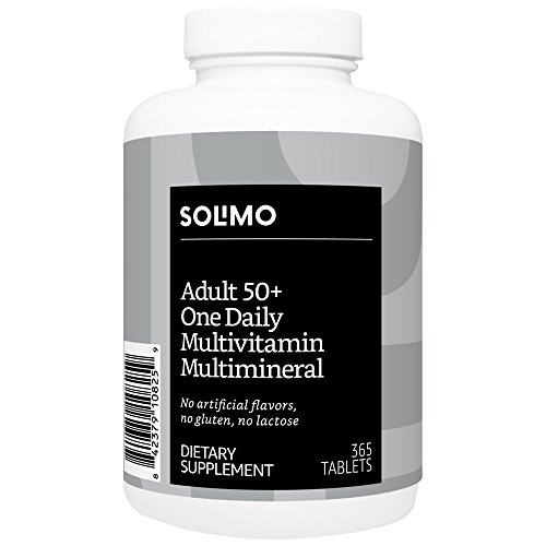 Amazon Brand - Solimo Adult 50+ One Daily Multivitamin Multimineral, 365 Tablets, Value Size - One Year Supply