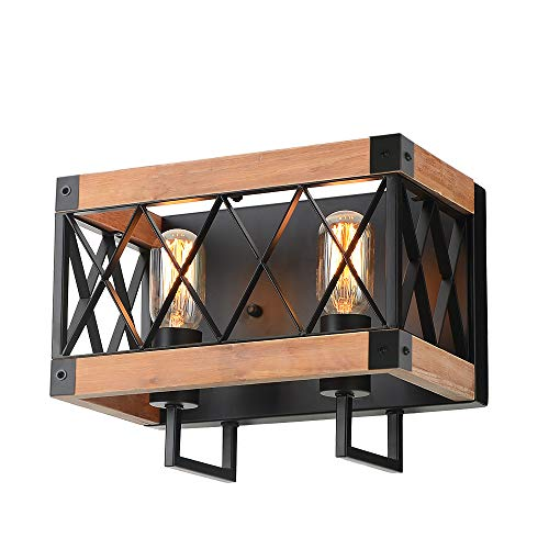 (Eumyviv Rustic Wood Wall Lamp with Mesh Cage Industrial Wall Sconce, Retro Bathroom Lamp Log Cabin Home Vintage Edison Sconce Light Fixture 2-Lights, Brown)