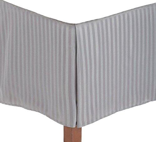 ARlinen 1 Qty Split corner Bed skirt Only,Light Grey Stripe,Queen Size,Pocket Drop 15 inches 100% Egyptian Cotton Luxurious 650 Thread - Stripe Bedskirt Queen Grey