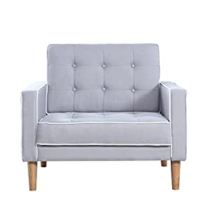 Mid Century Modern Two Tone Fabric Living Room Armchair (Light Grey)