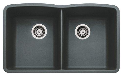 Blanco Diamond SILGRANIT II Equal Double Undermount Hygienic Granite Kitchen Sink 9-1/2