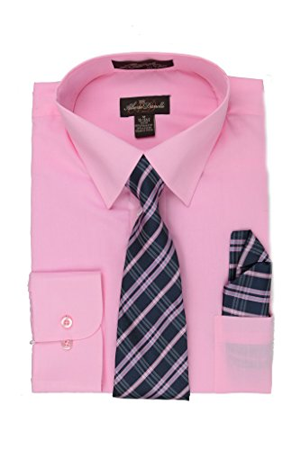 Dress Modern Tie (Alberto Danelli Men's Long Sleeve Dress Shirt with Matching Tie and Handkerchief, Large / 16-16.5 Neck -34/35 Sleeve, Blush)