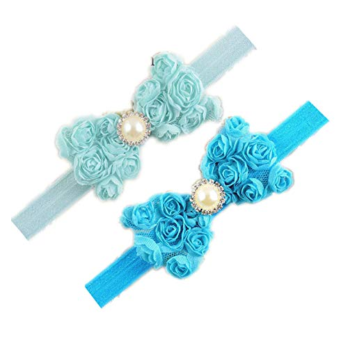 Baby Girls Headbands Lace Rose Bows Pearl Elastic
