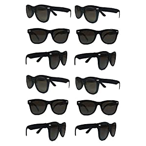 Black Sunglasses Wholesale Party Pack-12 Retro Wayfarer Risky Business-Blues Brothers Black Sunglasses For Graduation-Mardi-Gras-Holidays-Birthdays-Parties-One Size Fits Most Adults and Kids