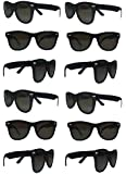 The Gags ®-Party Pack-12 Plastic Retro Wayfarer Risky Business-Blues Brothers Black Sunglasses For Graduation-Mardi-Gras-Holidays-Birthdays-Parties-One Size Fits Most Adults and Kids
