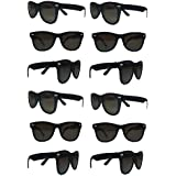 TheGag Black Sunglasses Wholesale Party Pack-12 Retro Wayfarer Risky Business-Blues Brothers Black Sunglasses for Graduation-Mardi-Gras-Holidays-Birthdays-Parties-Adults and Kids-New Improved